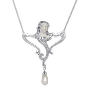 Van Kempen Art Nouveau Lady Simulated Pearl Necklace in Sterling Silver