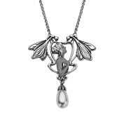 Van Kempen Art Nouveau Simulated Pearl Necklace in Sterling Silver