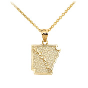 Arkansas State Map Pendant Necklace in 10k Yellow Gold