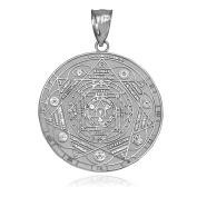 10K White Gold Om 7 Chakra Yoga Meditation Calendar Pendant