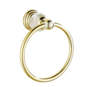 AUSWIND Antique Gold Brass & Crystal Towel Ring Wall Mounted Bathroom Accessory XH