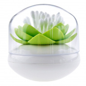 Bloss Q-tips Holder Cotton Ball/Swab Organiser Lotus Shape Swab Cosmetic Storage & Toothpick Holder , Green