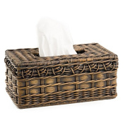 The Basket Lady Wicker Large Tissue Box Cover One Size (size 0) Antique Walnut Brown