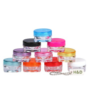 YUFENG 3g Travel Cosmetic Sample Containers Plastic Pot Jars 10pcs/set