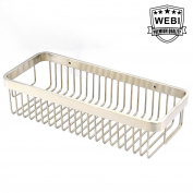 WEBI 32cm Solid SUS 304 Rectangular Wire Storage Shelf, Shower Caddy, Wall Mounted Plate Basket Hanging Tray Organiser, Brushed Finish