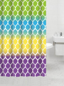 Fancy Fabric Shower Curtain with Geometric Patterns and Quatrefoil Design and Colours