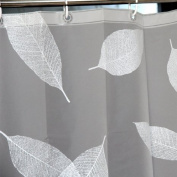 LynnWang Design 180cm x 180cm PVC FREE Shower Curtain or Liner,White Leaves,With 12 Hooks and Durable Grommets, 100% EVA, NO Bad Smell