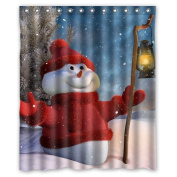 CozyBath Christmas Waterproof Polyester Fabric 150cm (w) x 180cm (h) Shower Curtain and Hooks