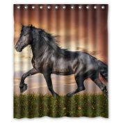 Custom Wild Horse Waterproof Polyester Fabric 150cm (w) x 180cm (h) Shower Curtain and Hooks