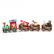 FEITONG 4 Pieces/set Wood Christmas Xmas Train Decoration Decor Gift
