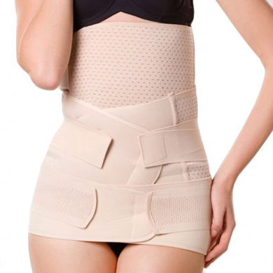 EUBUY 3 In 1 Mesh Breathable Women Belly Waist Postpartum Postnatal Recoery Support Girdle Belt Abdominal Binder Band Shaper Wrapper(XL)