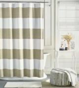 Tommy Hilfiger Cotton Shower Curtain Wide Stripes Fabric Shower Curtain Beige Tan Cabana Stripe