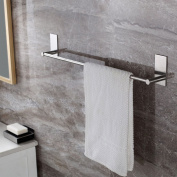 YIGII Self Adhesive 70cm Towel Bar Holder for Bathroom or Kitchen, Brushed SUS 304 Stainless Steel