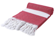 Cacala Peshtemal Turkish Hammam Towel 90cm x 170cm 100% Cotton Red