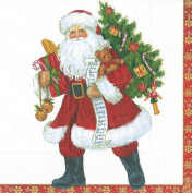 Entertaining with Caspari Lynn Haney Santa Luncheon Napkins, Red, Pack of 20