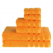 PROMIC 100% Cotton Luxury Hotel & Spa Bath Towel Set, 6 Piece Includes 2 Bath Towels, 2 Hand Towels, and 2 Washcloths – 500GSM, Highly Absorbent and Softness, Fade-resistant, Orange
