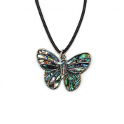Liav's Butterfly Charm Pendant Fashionable Necklace / Abalone Paua Shell / 46cm Wild Style Chain / Unique Gift and Souvenir