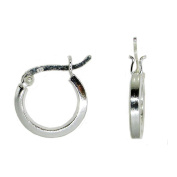 Sterling Silver Round Hoop Earrings w/ Square Tube & Click-Down Clasp,