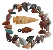 Arrowhead Lot, 32 pcs Indian Agate Stone Arrowhead Set by Ashkii