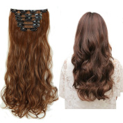Clip in Hair Extensions Synthetic Light Brown Full Head Hairpieces Japanese Kanekalon Fibre Thick Long Wavy Curly Soft Silky 8pcs 18clips for Women Fashion and Beauty 43cm / 43cm 6#