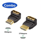 VCE Combo 3D & 4K Supported HDMI 90 Degree and 270 Degree Male to Female Adapter