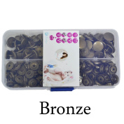 Seawhisper Starter Pack of 50 Complete Snaps/T5 Plastic Snap Fasteners Sets for Sewing Cloth Nappy/Bibs/Unpaper Towels/Nappies/Buttons/Mama Pads - A39 Bronze