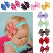 Internet 10PC Babys Headband Hairband Elastic Wave Point Bowknot Photography