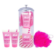 Straw Holder & Strawberry Milkshake Gift Set - Body Wash Lotion Milk Chic - Mad Beauty