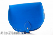 Bright Blue Real Leather Saddle Cross Body Handbag with Buckle Closure and Adjustable Strap
