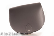 Grey Real Leather Saddle Cross Body Handbag with Buckle Closure and Adjustable Strap