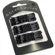 30 Extra Long Black Traditional Kirby Hair Grips Slides Clips Pins 7cm by Pritties Accessories