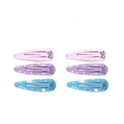 6 Barrettes Hair Sofa Metal Butterfly Blue Pink Purple