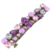 Purple Stone with Roses Hair Barrette Hair Slide French Clip Hair Clip