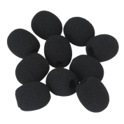 BQLZR 8mm Dia Black Wind Shield Foam Mic Cover for Loudspeaker Lapel Microphone Headset Microphone EY-M05 Pack of 10