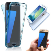 Galaxy Note 4 Case [Scratch Resistant],Vandot High Quality Soft Slim Fit Shockproof 360 Degree Protective Front and Back Full Body TPU Silicone Case Cover For Samsung Galaxy Note 4-Transparent Blue