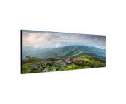 Canvas Wall Art Pictures as a panorama 120X40 Cm Landscape Mountains Field Clouds Nature