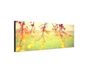 Wall Picture 120 x 40 cm Canvas Panorama in Leaves Branches Autumn bunt