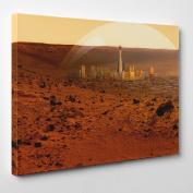 Big Art Shop - Las Vegas on Mars - Framed Canvas Art Print - Space Planet Mars Milky Way City USA, 24x16 inches / 61x41x1.8 cm