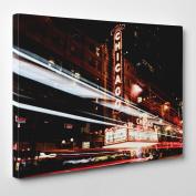 Big Art Shop - Chicago Theatre - Framed Canvas Art Print - Chicago USA Illinois Theatre, 36x24 inches / 91x61x3.8 cm