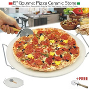 Pizza Stone 38cm / 15in with Free Pizza Cutter by Pilot Imports®