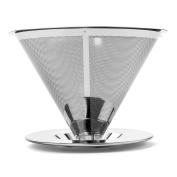 Kobwa Stainless Steel Coffee Filter Reusable Paperless Pour Over Cone Dripper with Cup Stand