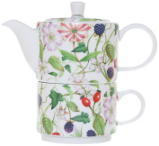 The CIJA Honeysuckle Porcelain Tea for One Set with Cup and Teapot Single Use, White