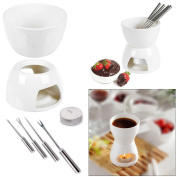 JJOnlineStore - Ceramic Chocolate Or Cheese Fondue Set With FREE Stainless Steel Forks Kitchen Modern Present Gift Xmas Christmas Wedding Party