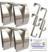 4 Brushed Stainless Steel Self Adhesive Sticky Tea Towel Grabbers Holders & 4 Over Door Hooks