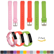 Fitbit Alta / Alta HR Replacement Wristbands Accessory(Pack of 3) + Free HD Screen Protectors, iFeeker Soft Silicone Adjustable Metal Buckle Design Strap Watch Band for Fitbit Alta / HR Activity Fitness Tracker(The Tracker Not Included) - Pink + Red + ..