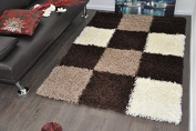 SMALL BROWN & BEIGE STYLISH BOXED CHECKED DESIGN SHAGGY AREA SOFT RUG MATS CA...