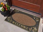 Heavy Duty Gold Welcome Rubber Indoor Outdoor Door Mat Size 45cm x 75cm