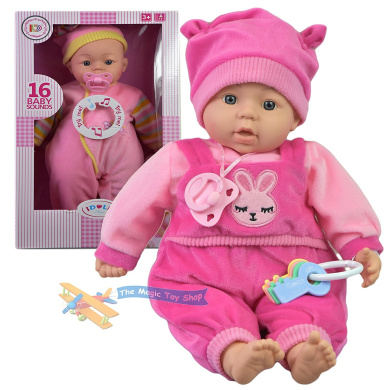 46cm New Born Soft Bodied Baby Doll Toy with Dummy Baby Sounds Crying Talking