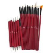 Glow 20 piece Nail Art Brushes and Nail Dotting Tools Set; Red/Maroon