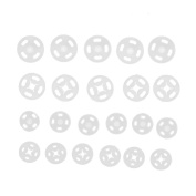 Plastic Snap Fasteners Sew on 10mm 14mm Pack of 36 Sets White